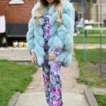 Ella Rae Wise in a Blue Fur Jacket on the Set of The Only Way is Essex TV Show in Essex