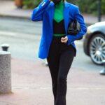 Hailey Bieber in a Bold Blue Blazer Was Seen Out in Paris