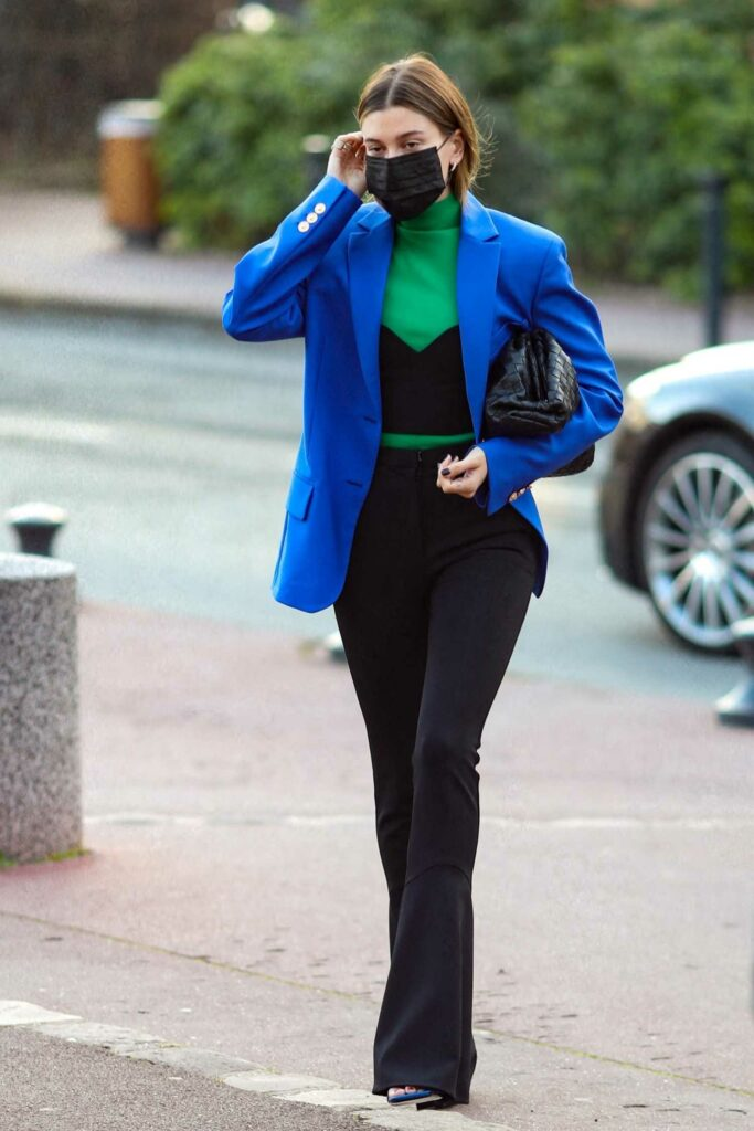 Hailey Bieber in a Bold Blue Blazer