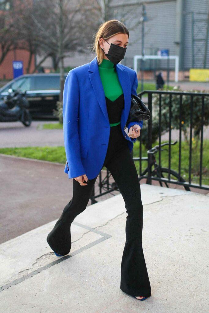 Hailey Bieber in a Bold Blue Blazer