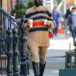 Irina Shayk in a Beige Striped Sweater Was Seen Out in New York