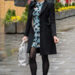 Jenni Falconer in a Blue Floral Mini Dress Leaves the Global Studios in London