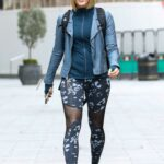 Jenni Falconer in a Blue Leather Jacket Arrives at the Global Radio Studios in London