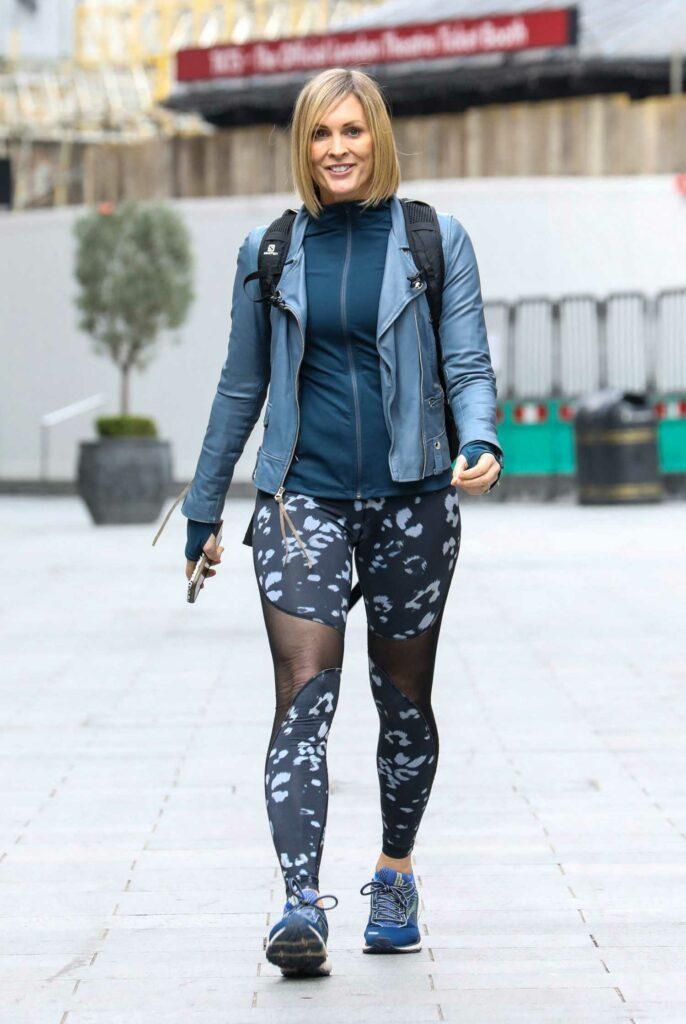 Jenni Falconer in a Blue Leather Jacket