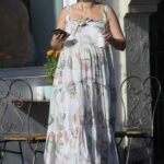 Jesinta Franklin in a White Floral Dress Enjoys a Coffee in Sydney