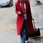 Kate Garraway in a Red Coat Arrives at the Global Studios in London