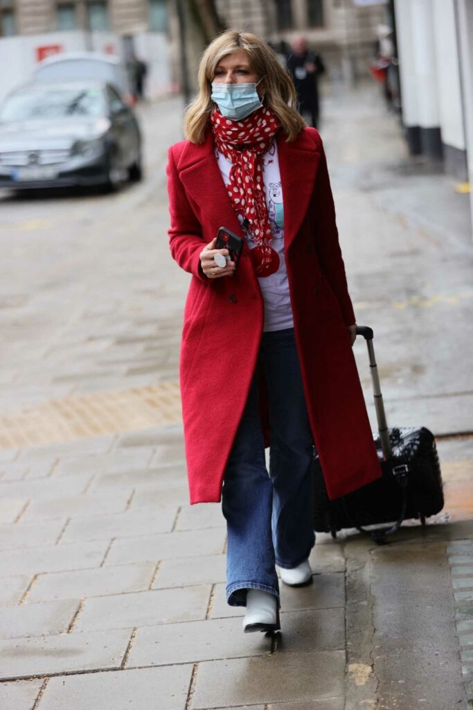 Kate Garraway in a Red Coat