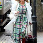 Kate Garraway in a White Cardigan Arrives at the Global Studios in London