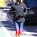 Kelly Bensimon in a Colorful Leggings Was Spotted During a Morning Jog Around Manhattan's Downtown Area in NYC