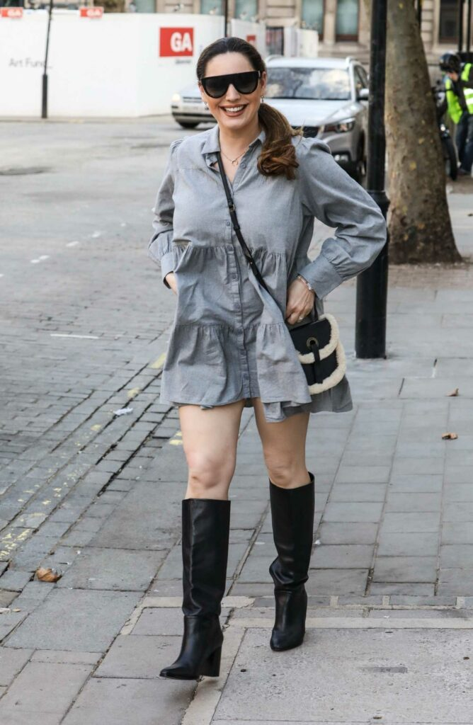 Kelly Brook in a Grey Mini Dress