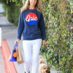 Lady Victoria Hervey in a Blue Epic Sweater Walks Her Dog in Los Angeles