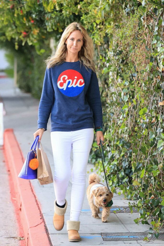 Lady Victoria Hervey in a Blue Epic Sweater