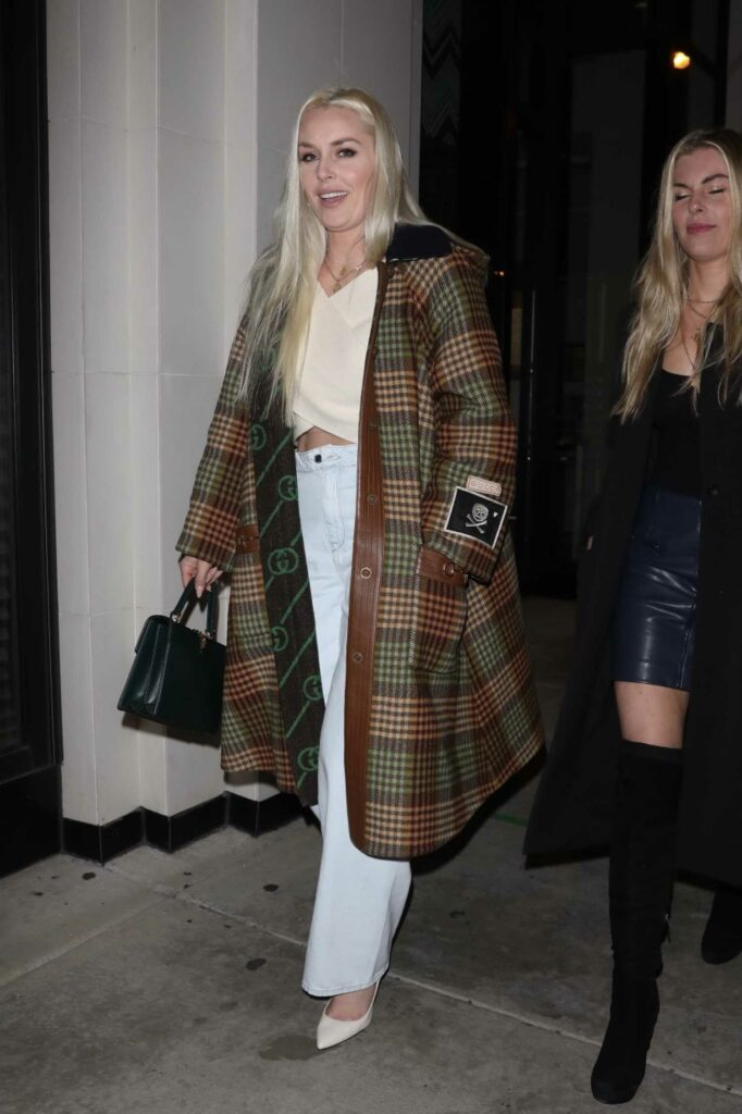 Lindsey Vonn in a Plaid Coat