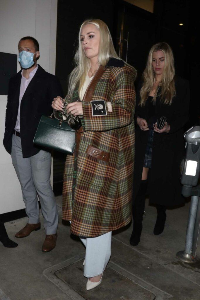 Lindsey Vonn in a Plaid Coat