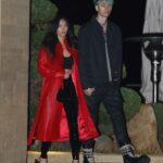 Megan Fox in a Red Leather Trench Coat Leaves Nobu Out with Machine Gun Kelly in Malibu
