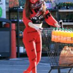 Phoebe Price in a Red Outfit Makes a Trip to Her Local Ralph's in Los Angeles