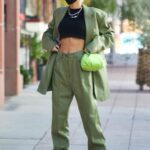 Pia Mia in a Green Suit Grabs Coffee in Westwood