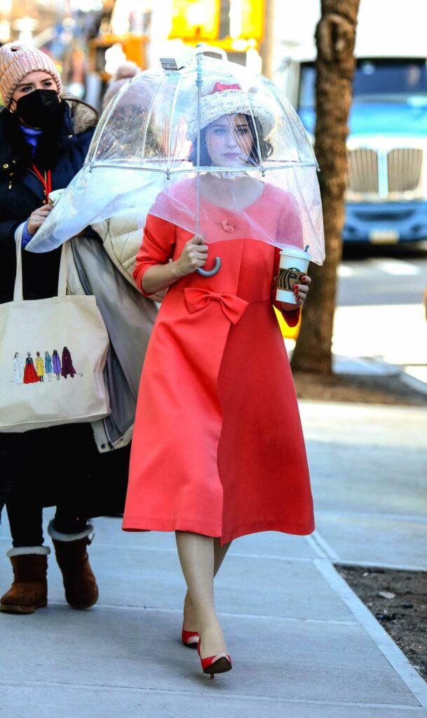 Rachel Brosnahan in a Red D