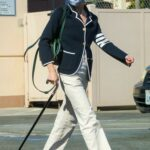 Selma Blair in a Blue Cardigan Stops By a Gas Station in Los Angeles