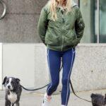 Sienna Miller in a Green Bomber Jacket Walks Her Dogs in London