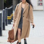 Vick Hope in a Beige Coat Arrives on Morning Live TV in London