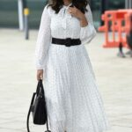 Vicky Pattison in a White Dress Leaves Steph's Packed Lunch TV Show in Leeds