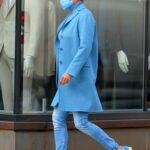 Yolanda Hadid in a Blue Coat Pushes a Stroller while Out in Downtown Manhattan, NYC