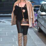 Amy Hart in a Tan Blazer Arrives at Aldo Coppola Hair Salon in Kensington