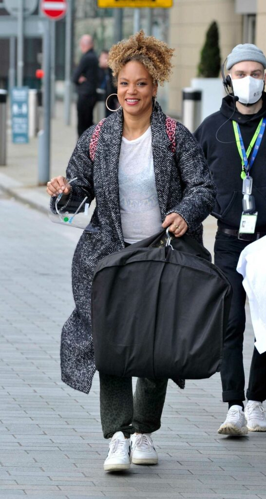 Angela Griffin in a Grey Coat