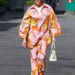 Ashley Roberts in a Floral Multi Coloured Outfit Arrives at the Heart Radio Studios in London