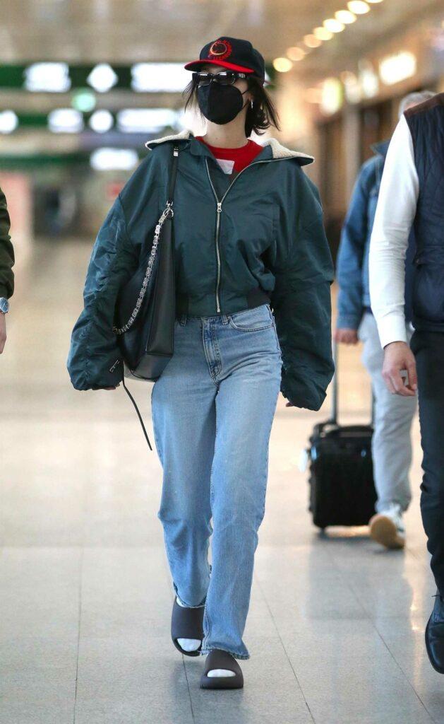 Bella Hadid in a Green Jacket
