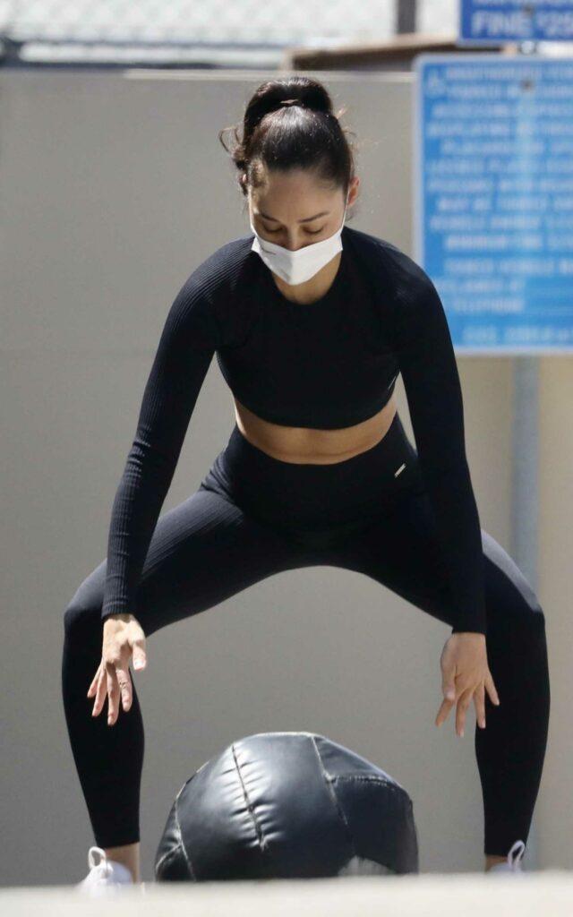 Cara Santana in a Black Workout Ensemble