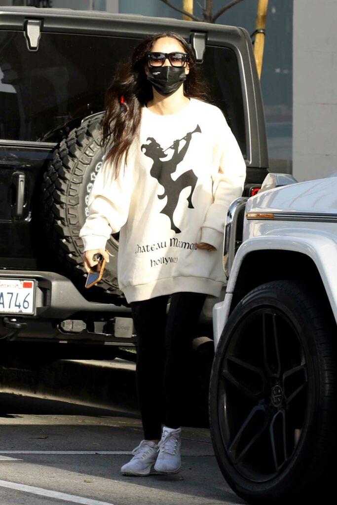 Cara Santana in a White Sweatshirt