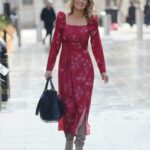 Charlotte Hawkins in a Floral Red Dress Leaves the Global Offices in London