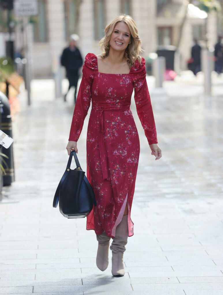 Charlotte Hawkins in a Floral Red Dress