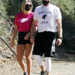 Emma Krokdal in a Pink Tee Goes Hiking Out with Dolph Lundgren in Los Angeles