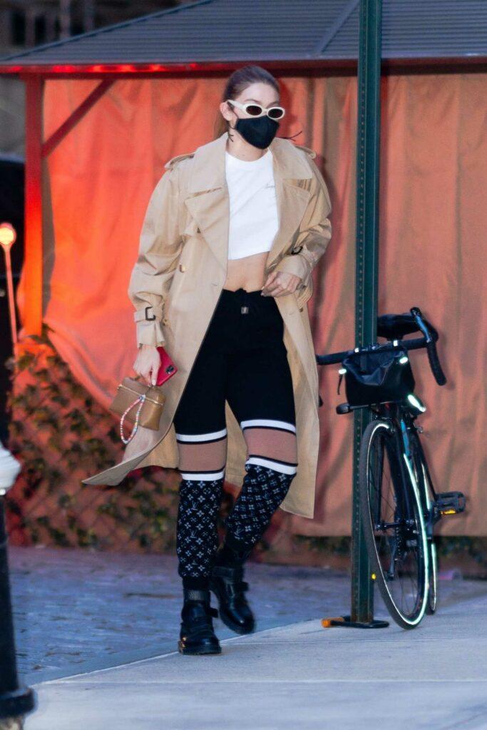 Gigi Hadid in a Beige Trench Coat