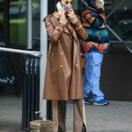 Irina Shayk in a Tan Leather Trench Coat Was Seen Out in New York
