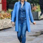 Jenni Falconer in a Blue Coat Leaves Her Smooth FM Show at the Global Radio Studios in London