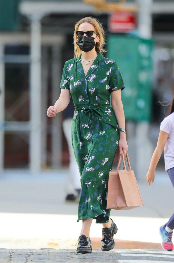Jennifer Lawrence in a Green Dress