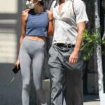 Kaia Gerber in a Grey Leggings Was Seen Out with Boyfriend Jacob Elordi in Los Feliz