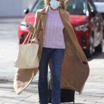 Kate Garraway in a Beige Coat Arrives at the Smooth Radio Studios in London