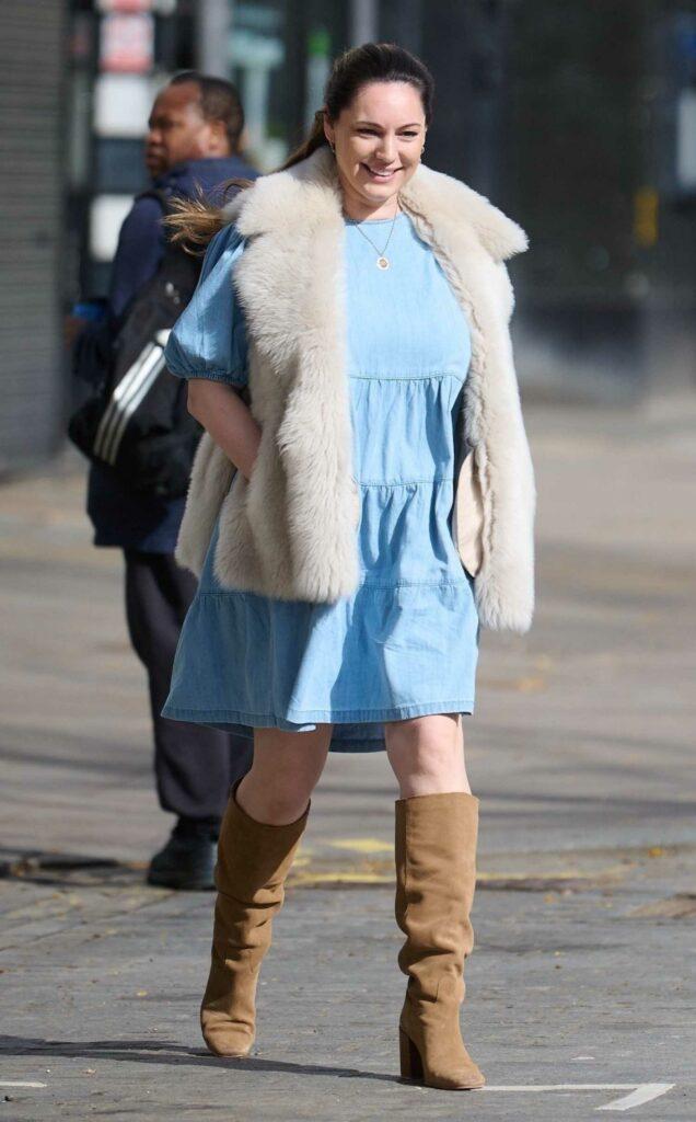 Kelly Brook in a Blue Dress