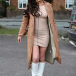Kelsey Stratford in a Tan Leather Coat on The Only Way is Essex TV Show Filming in Essex