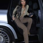 Kim Kardashian in a Brown Pants Heads Out to Dinner at La Scala in Beverly Hills