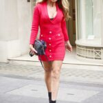 Lizzie Cundy in a Red Mini Dress Arrives at the Arts Club in Central London