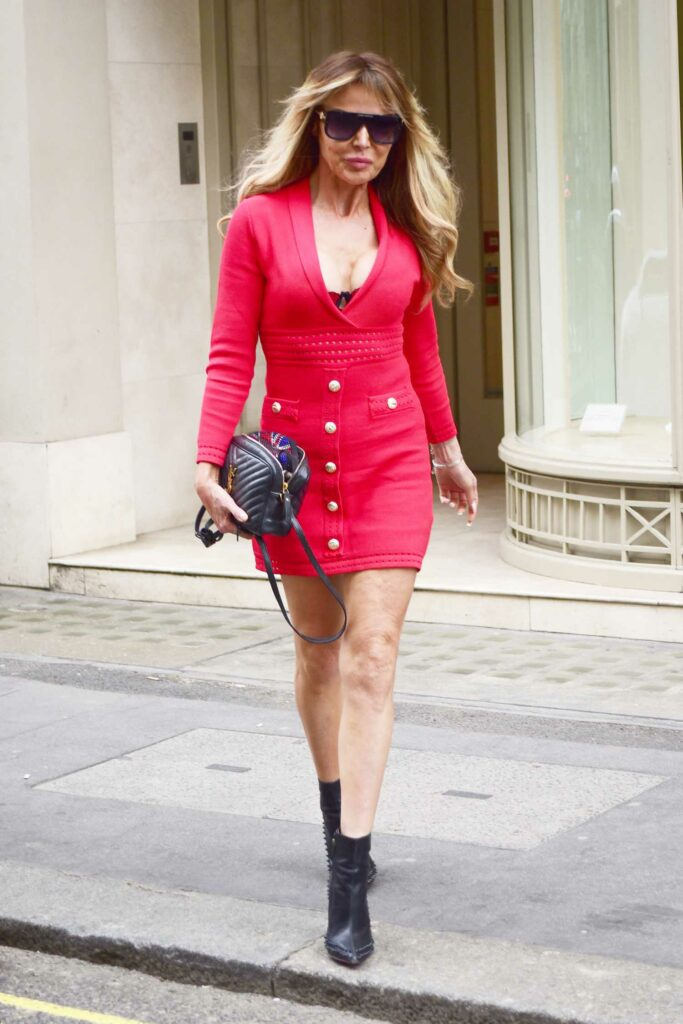 Lizzie Cundy in a Red Mini Dress