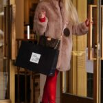 Marcela Iglesias in a Red Pants Shops at Saks Fifth Avenue in Beverly Hills