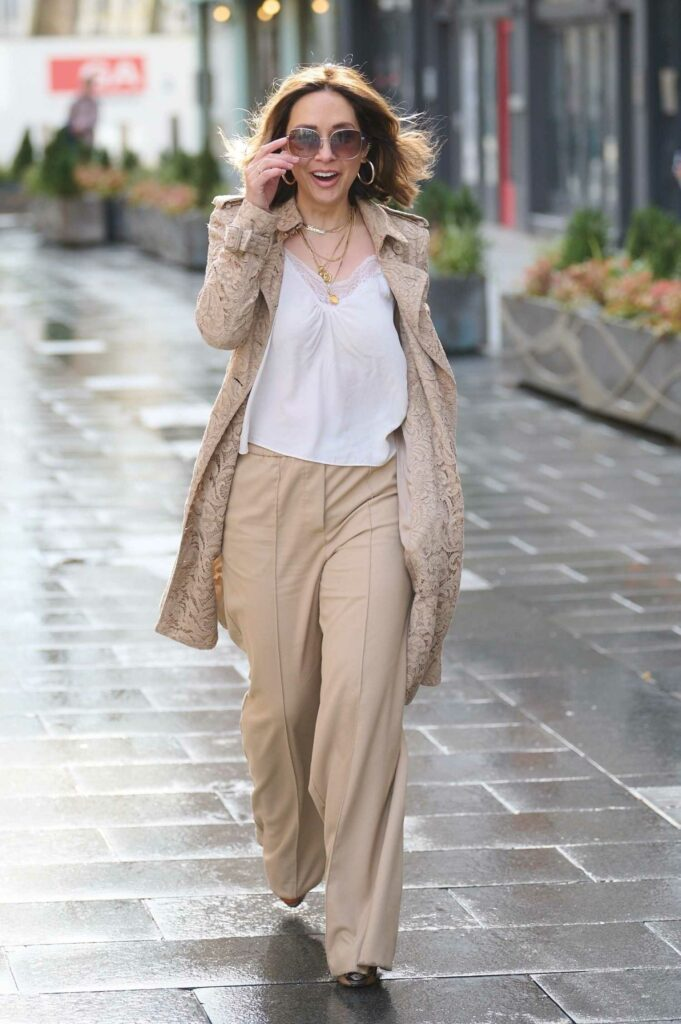 Myleene Klass in a Beige Trench Coat