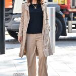 Myleene Klass in a Beige Trench Coat Arrives at the Global Studios for Her Smooth Radio Show in London